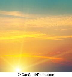 bello, cielo, alba, nuvoloso