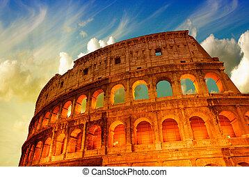 bello, cielo drammatico, sopra, colosseo, in, roma