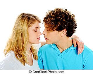 bello, circa, coppia, bacio, giovane