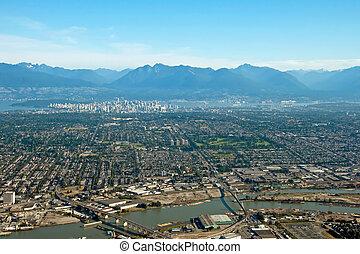 bello, città, aereo, montagne, britannico, centro, vancouver, fondo, columbia, vista