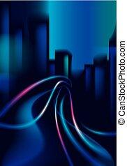 bello, città, costruzioni, vettore, colorito, piste, effetto, luce, scuro, fondo., silhouette, strada, grande, cityscape, fondo, offuscamento, skyline., night.
