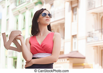 bello, città, donna, scarpe, giovane, strada, presa a terra, paio