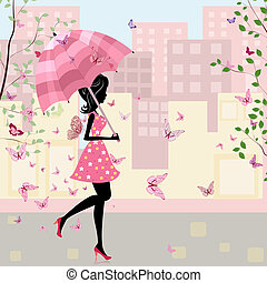 bello, città, ragazza, ombrello