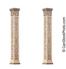 bello, classico, isolato, fondo, marmo bianco, colonne