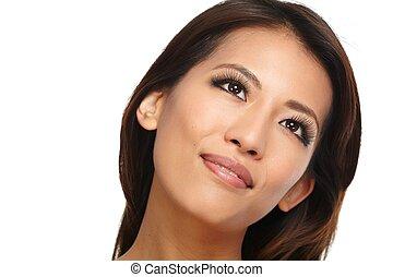bello, close-up., ragazza, asiatico