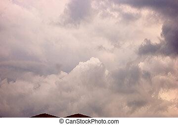 bello, cloudscape, nubi, sopra, cime, tetto, tempesta