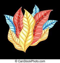 bello, colorito, foglie, autunno, vettore, composizione