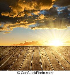 bello, colorito, tramonto