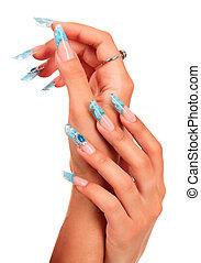 bello, colpo, femmina, unghia, mani, isolato, closeup, fondo, manicured, bianco