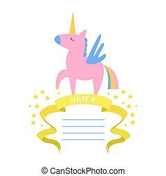 bello, compleanno, bambini, bandiera, manifesto, illustrazione, elemento, invito, festa, vettore, disegno, testo, sagoma, unicorno, scheda posto, opuscolo