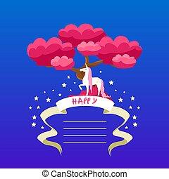 bello, compleanno, bambini, posto, bandiera, manifesto, illustrazione, elemento, invito, quaderno, vettore, disegno, testo, sagoma, unicorno, festa, felice, scheda, opuscolo