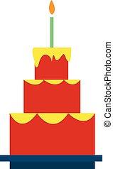 bello, compleanno, urente, colorare, illustrazione, disegno, vettore, three-layered, torta, candela, o
