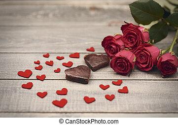 bello, composizione, di, giorno valentines, simboli