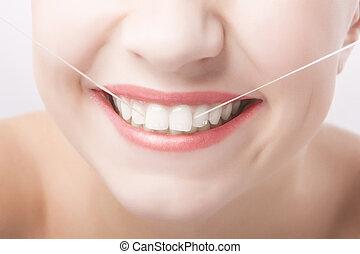 bello, concetto, dentale, donna, sorriso, Caucasico, cura