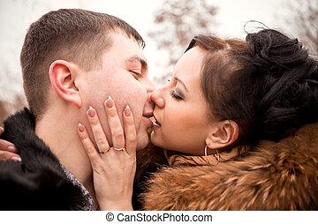 bello, coppia, amore, giovane