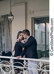 bello, coppia, balcone