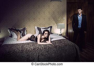 bello, coppia, giovane, camera letto