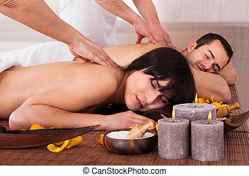 bello, coppia, godere, giovane, massaggio