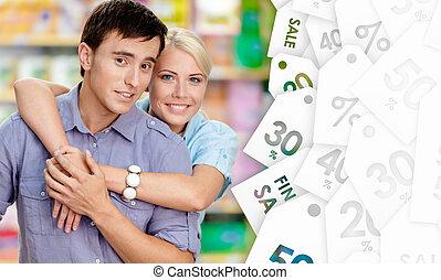 bello, coppia, in, il, negozio