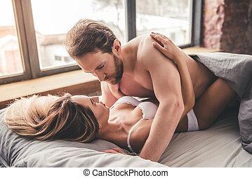bello, coppia, letto