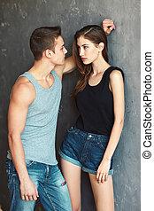 bello, coppia, moda, giovane