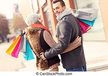 bello, coppia, shopping, insieme