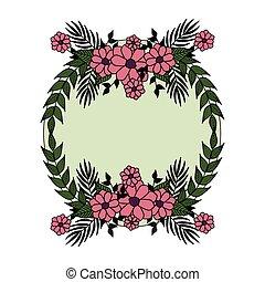 bello, cornice, fiori, mette foglie, circolare