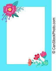bello, cornice, vettore, fiori, illustrazione