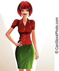 bello, corpo, pieno, presa a terra, lei, rosso-dai capelli, waist., espressione, magro, persone, giovane, coquette, mano, femmina, sexy, ritratto, sorridente, carino, signora, woman., illustrazione