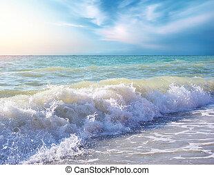 bello, costa, di, spiaggia, a, day., natura, composition.