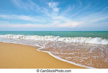 bello, costa, di, spiaggia, a, giorno