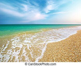 bello, costa, di, spiaggia., natura, composition.