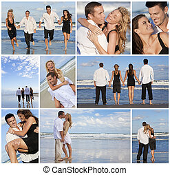 bello, couples, fotomontaggio, giovane, abbandonato, spiaggia
