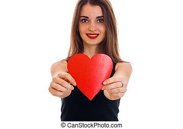 bello, cuore, amore, valentine, concept., isolato, giovane, studio, sfondo rosso, bianco, ragazza, giorno