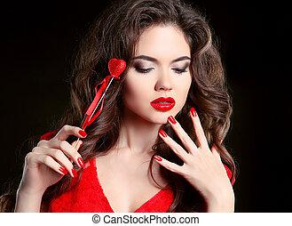 bello, cuore, brunetta, nails., trucco, giovane, polacco, ragazza, riccio, isolato, day., fondo, nero, manicure., rosso, donna, bellezza, acconciatura, valentina, labbra, manicured, modello