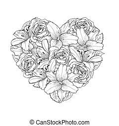 bello, cuore, decorato, vicino, fiori, rose, e, gigli, di, nero bianco, color., simbolo, di, uno, vacanza, di, uno, giorno fidanzato st.