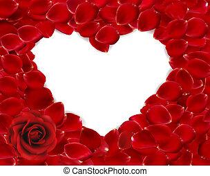 bello, cuore, di, rosso sorto, petals., vettore
