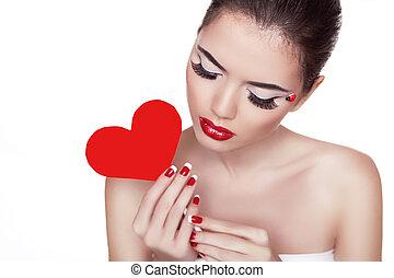 bello, cuore, donna, fondo, lei, glamor, trucco, isolato, mano, luminoso, attraente, presa a terra, ritratto, bianco rosso