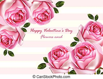 bello, dettagliato, rose, mazzolino, valentina, day., realistico, vector., illustrazioni, fiori, scheda, felice