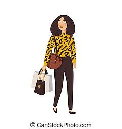 bello, dettagliato, stile, moda, femmina, appartamento, giovane, clothes., accessories., vettore, illustrazione, caratteri, donne