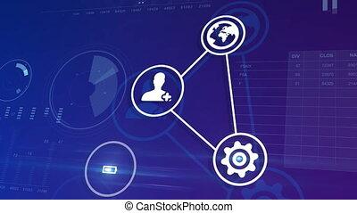 bello, digitale, interfaccia, con, icone, e, collegamenti, crescente, sopra, il, affari, grafici, e, charts., ciberspazio, media, environment., tecnologia, e, economico, concept., 4k, uhd, 3840x2160.