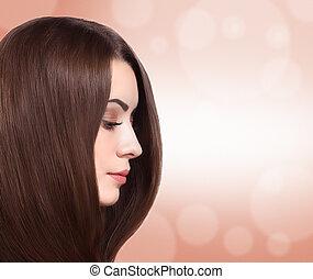 bello, diritto, donna, lungo, hair.