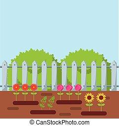 bello, disegno, giardino