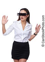 bello, donna affari, con, futuristico, occhiali