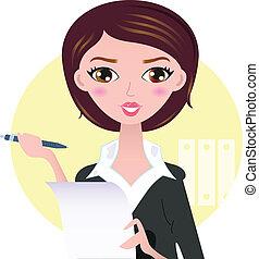 bello, donna affari, con, penna, isolato, su, sfondo giallo