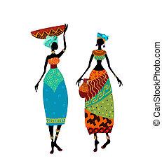 bello, donna africana, in, costume tradizionale
