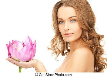 bello, donna, con, fiore loto