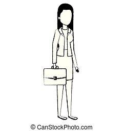 bello, donna d'affari, carattere, avatar, portafoglio
