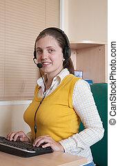 bello, donna d'affari, in, lei, ufficio