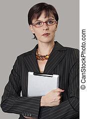 bello, donna d'affari, tavoletta, digitale